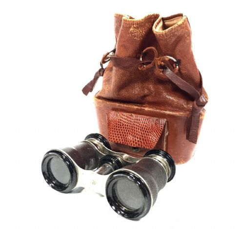 Antique 19th Century Opera Glasses In Rare Leather Bag / Case / Binoculars